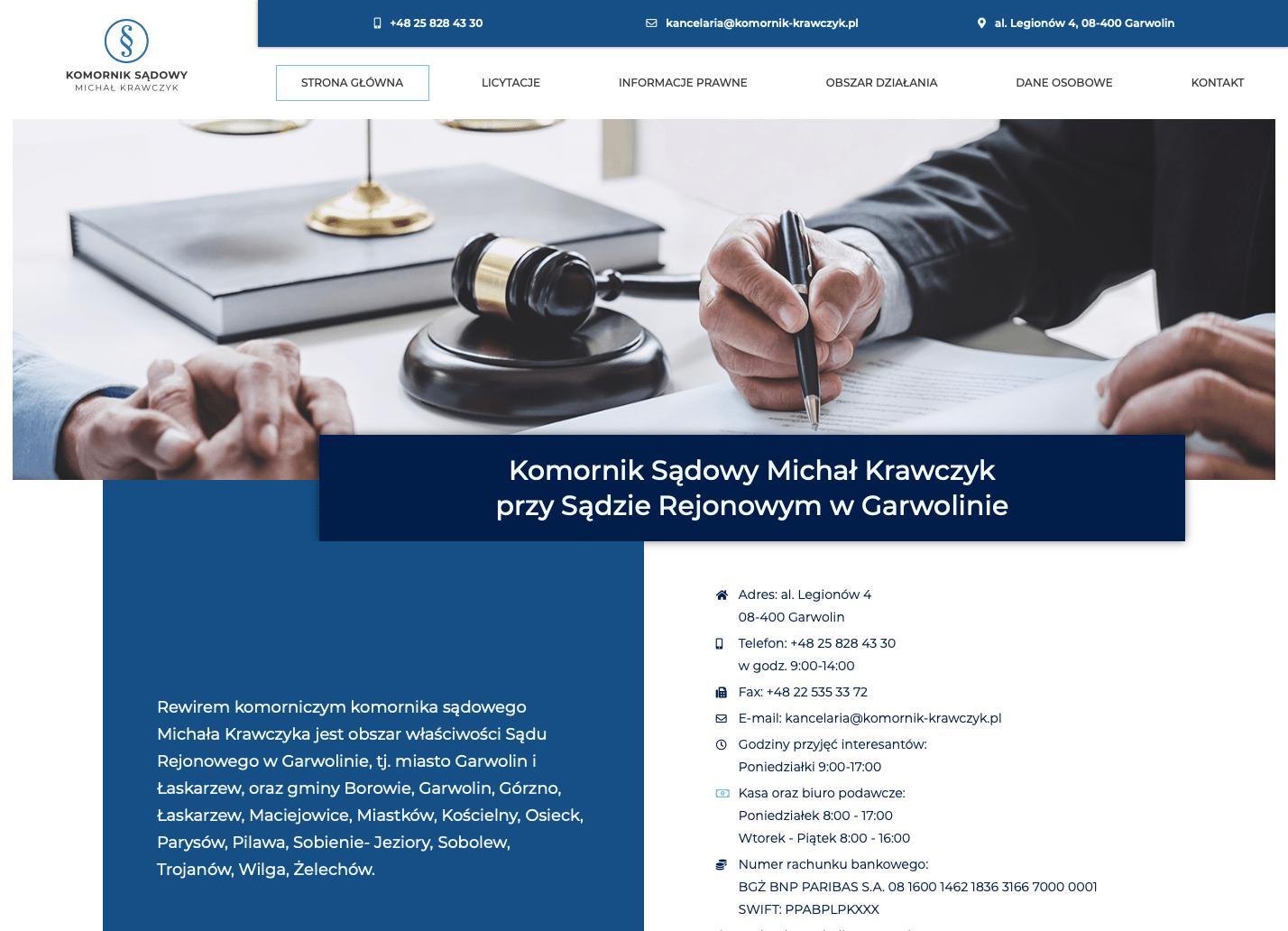Realizacja strony internetowej - komornik-krawczyk.pl