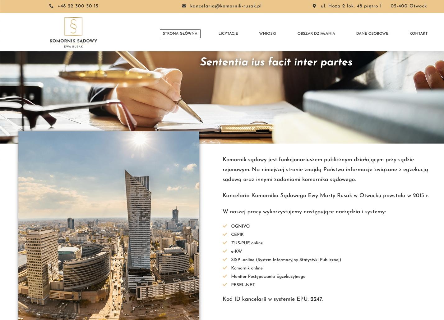 Realizacja strony internetowej - komornik-rusak.pl