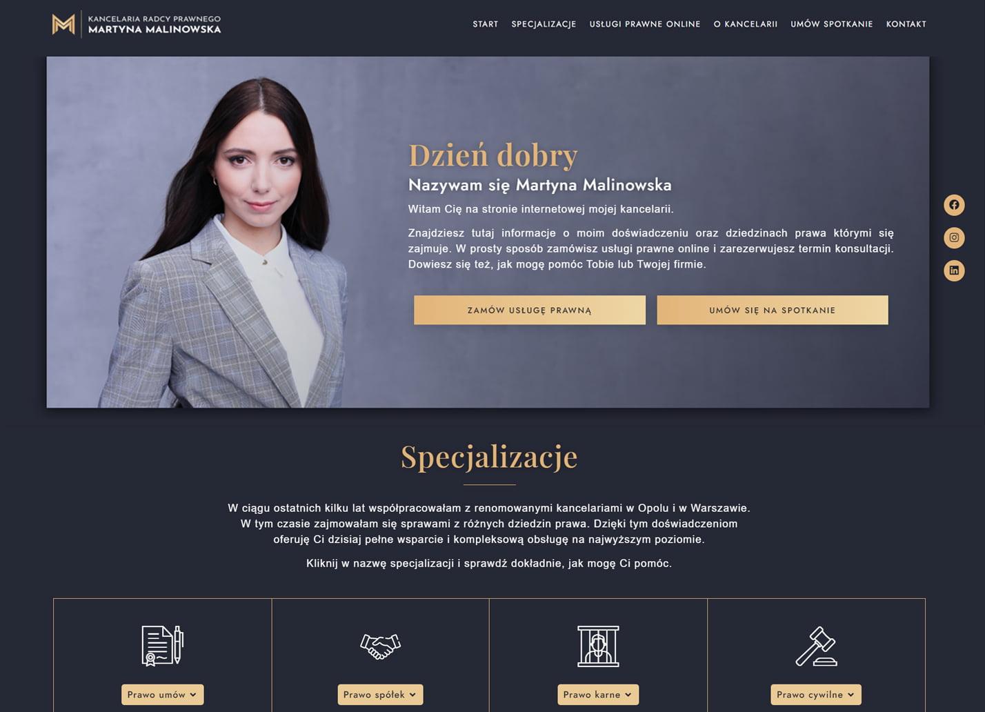 Realizacja strony www - Radca Prawny Martyna Malinowska